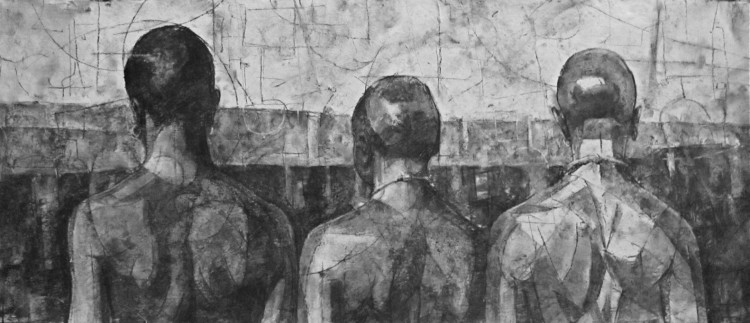 """charcoal, crayon, oil on canvas. 21""""x42"""""""